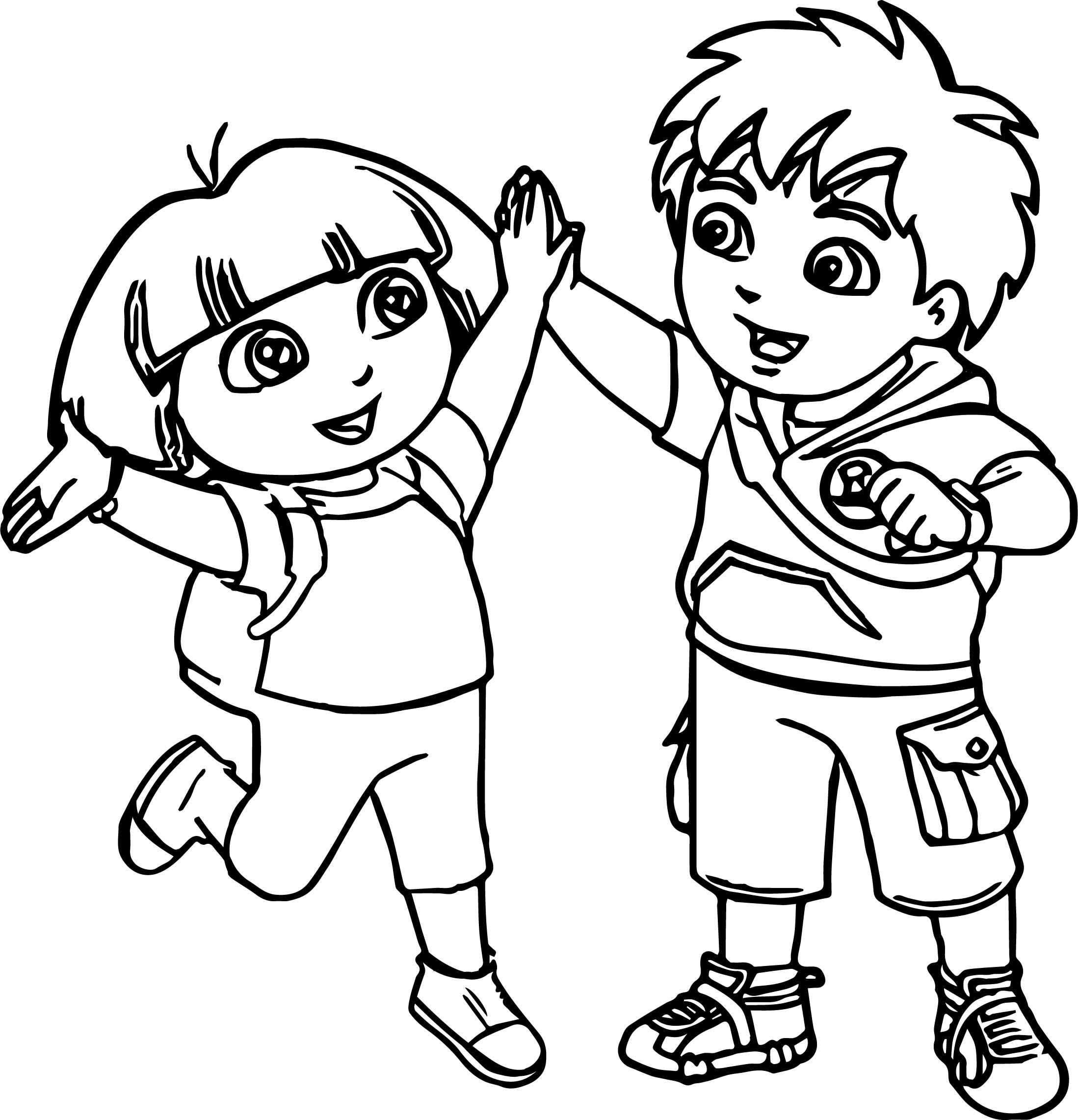 Dora and Her Backpack in Dora the Explorer Coloring Page - NetArt | 2283x2197