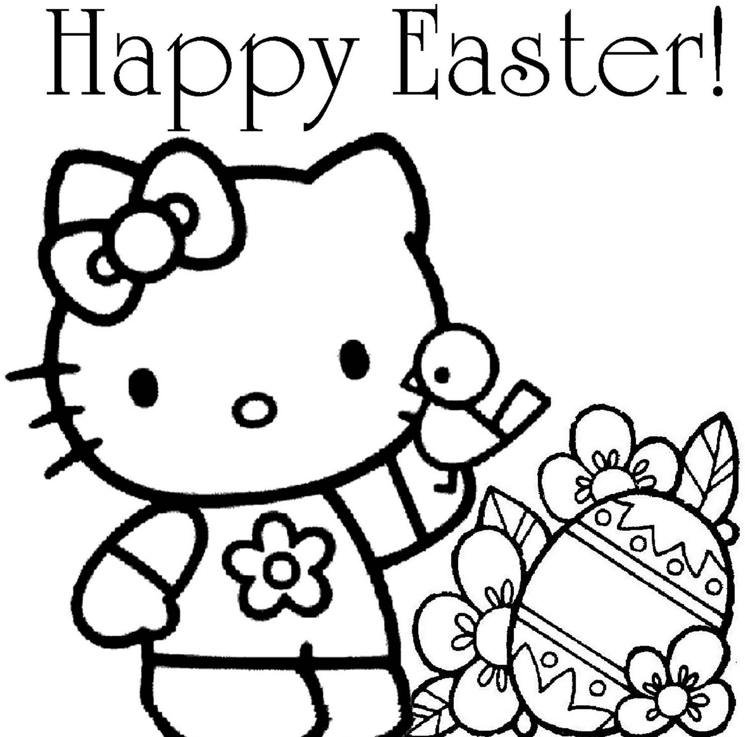 easter coloring hello kitty » Coloring Pages