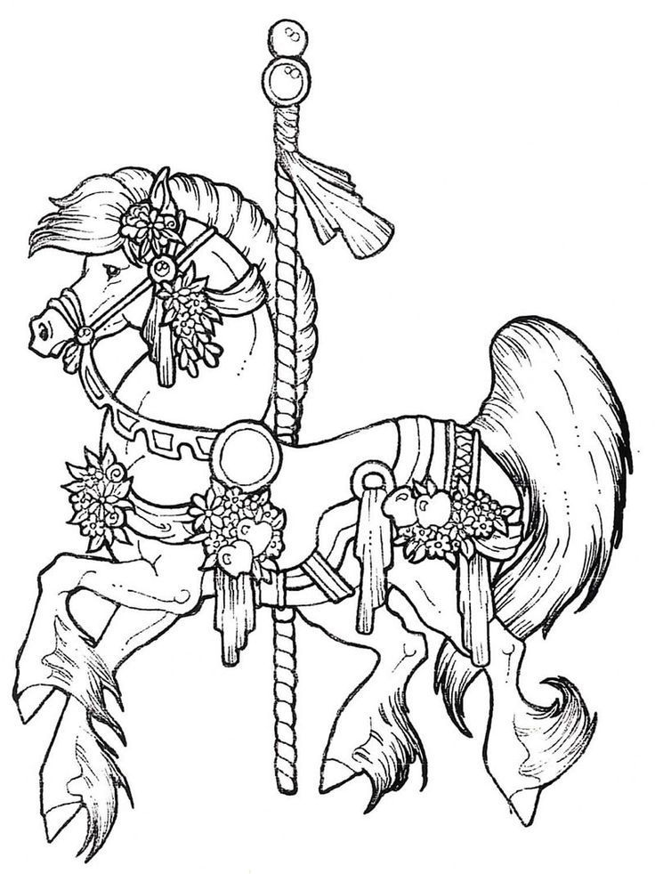 Carousel horses coloring pages coloring home for Carousel horse coloring page