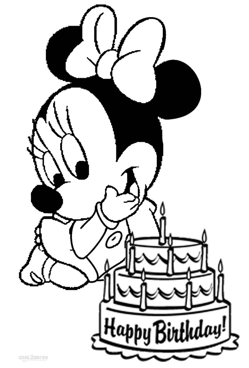 Minnie Mouse Coloring Pages Happy Birthday