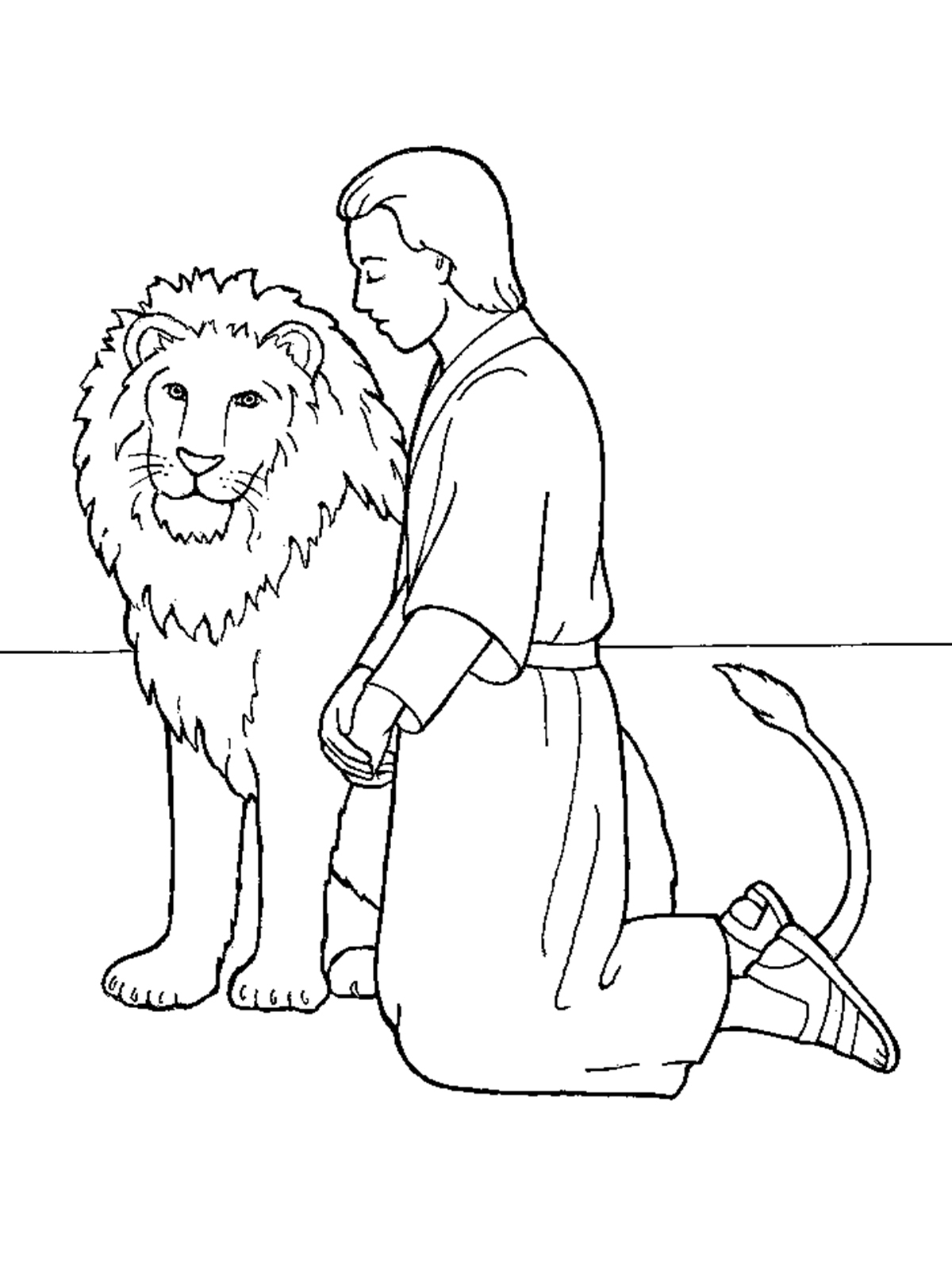 Daniel And The Lions Den Coloring Page