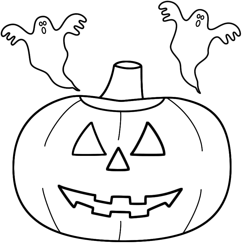 Pumpkin/Jack-o-Lantern with ghosts - Coloring Page (