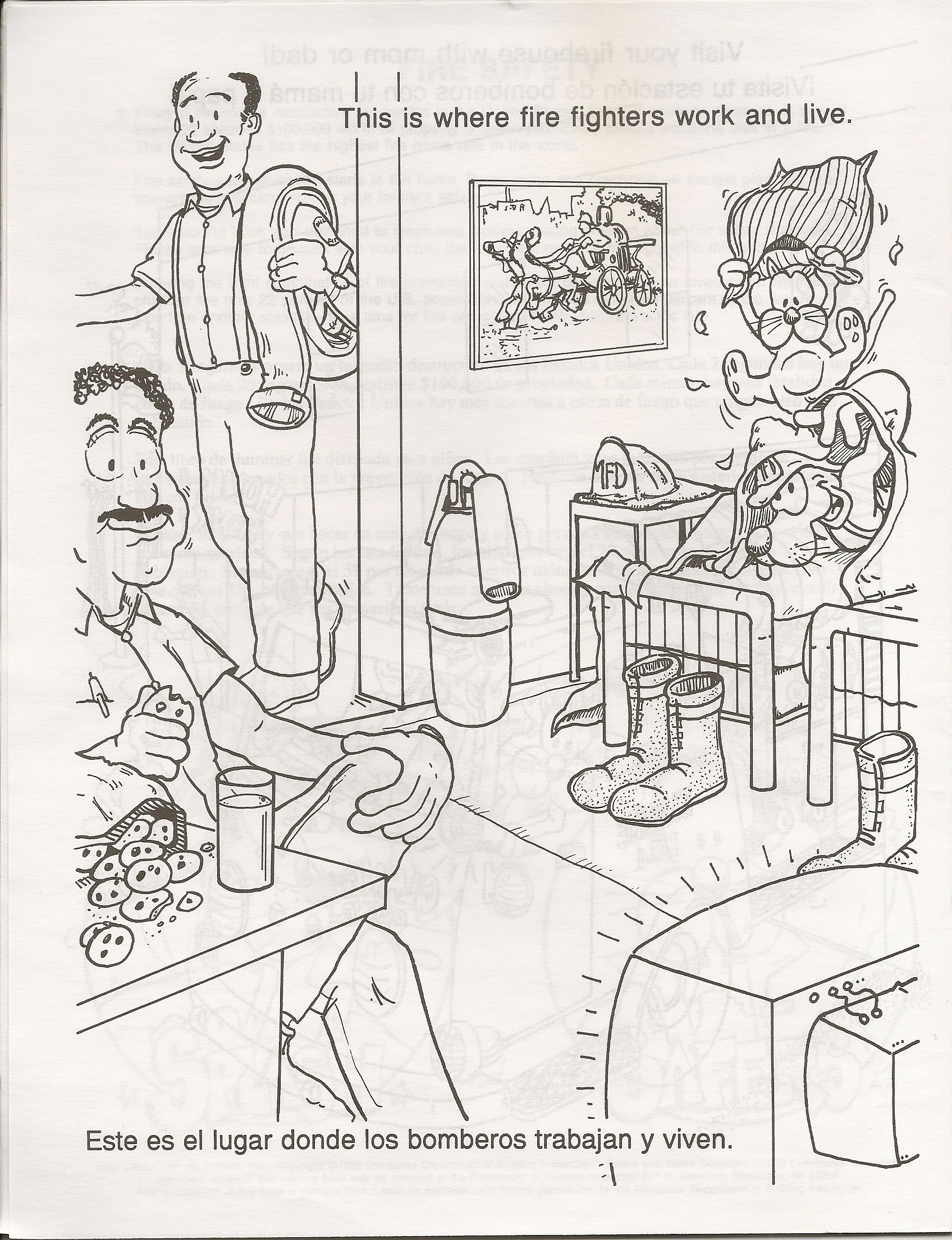 Fire safety book coloring page coloring home for Home safety coloring pages