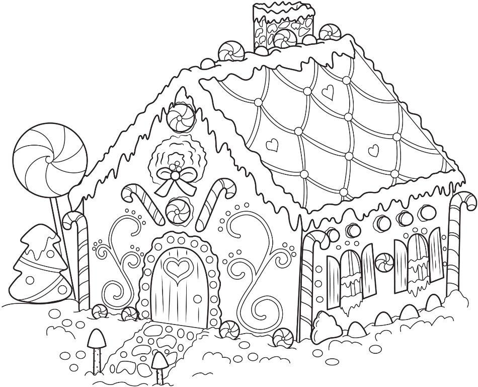Free Gingerbread House Coloring Pages - Coloring Home