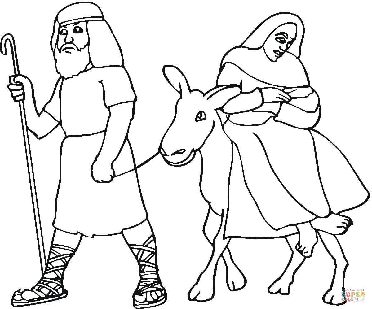 mary and joseph flight into egypt coloring page  free