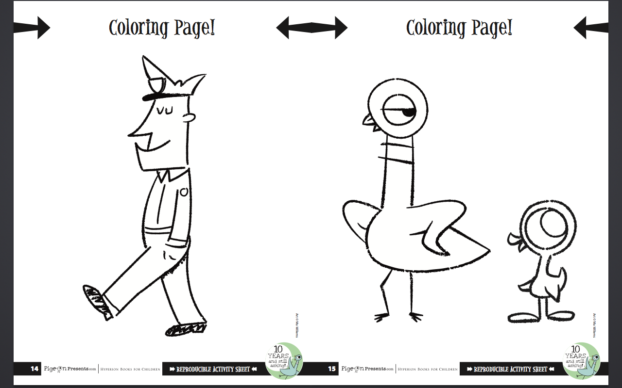 mo willems pigeon coloring page | Coloring Page for kids
