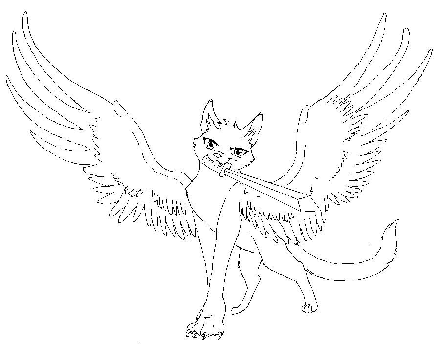 10 Pics Of Winged Cat Coloring Pages Winged Warrior Cat Line Art
