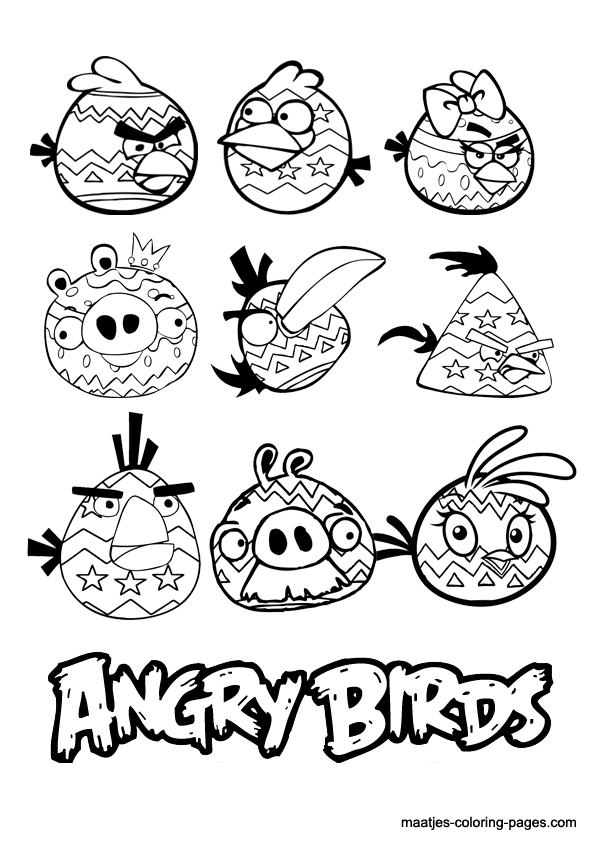 Christmas angry bird coloring pages