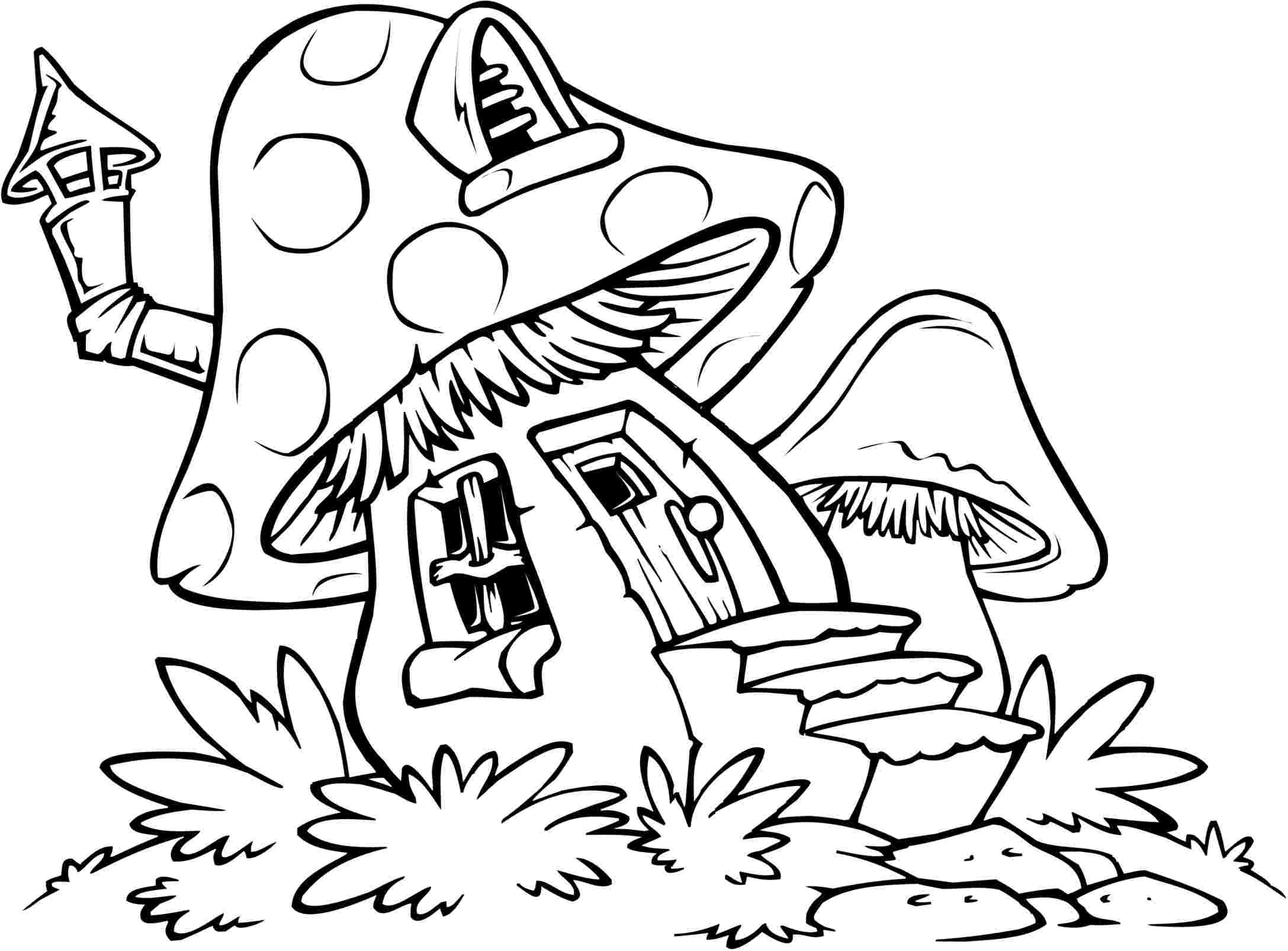 Mushrooms Coloring Pages Coloring Home