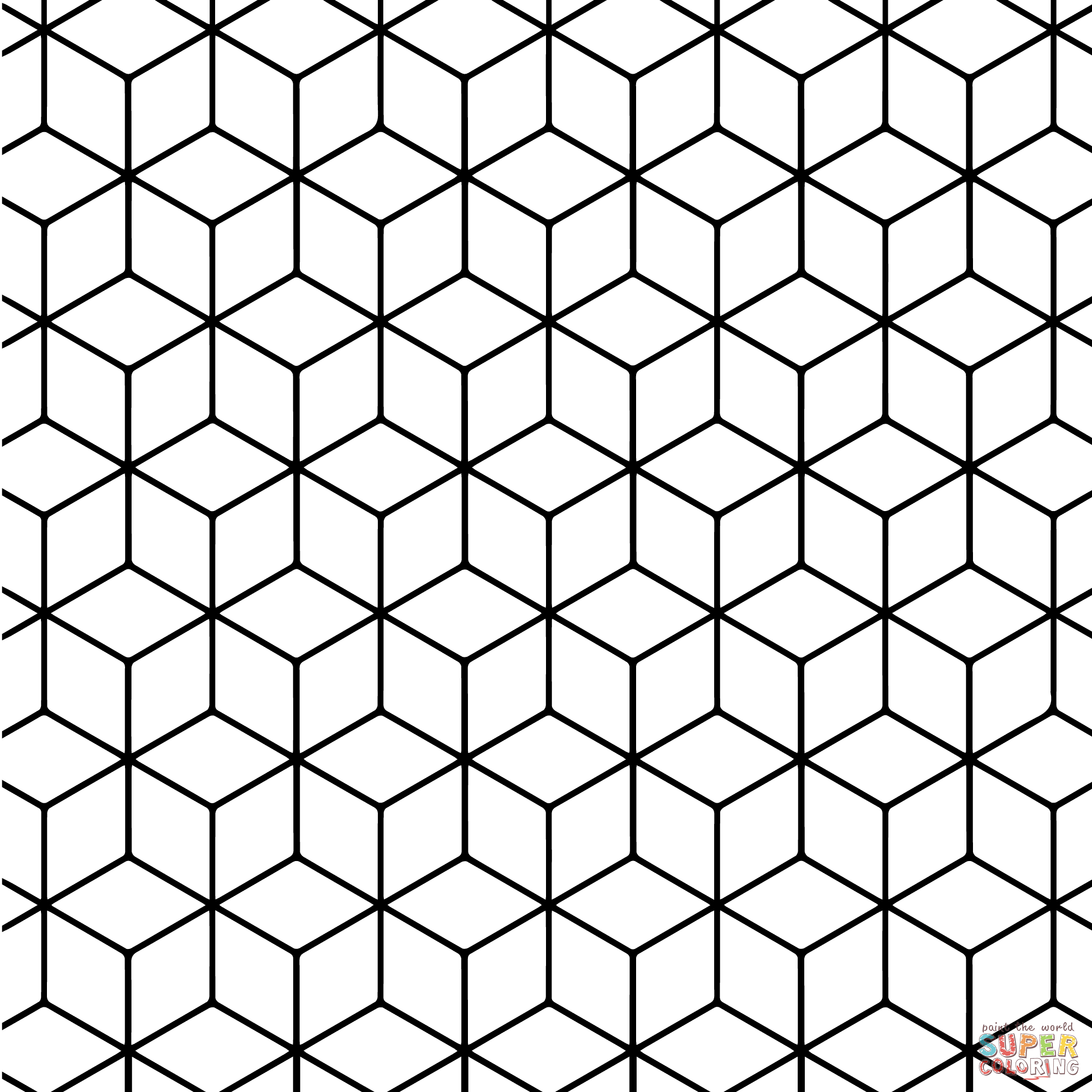 Geometric tessellation coloring page