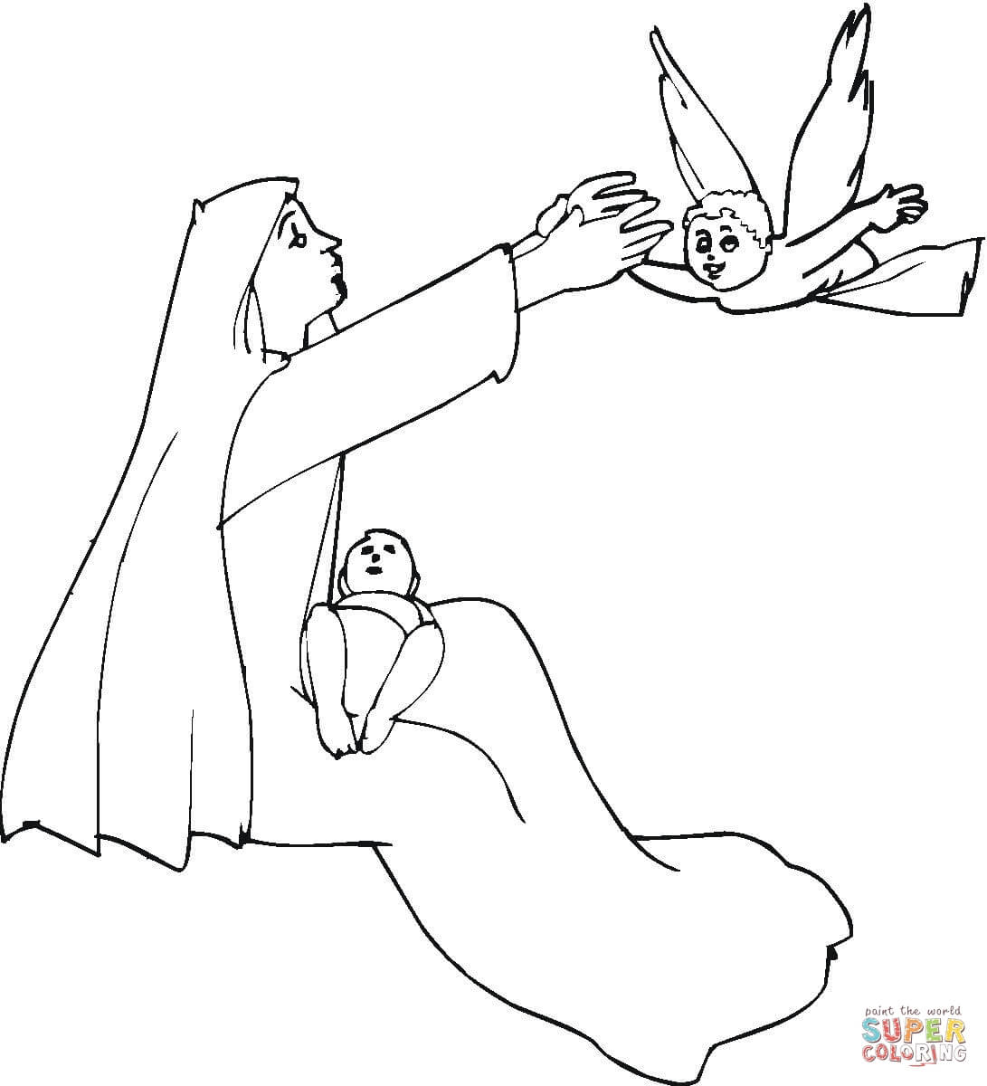 Angel Visits Mary Coloring Page