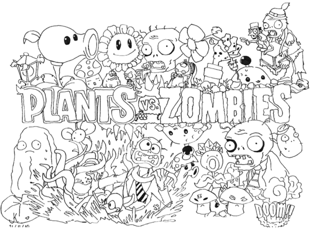 Plants Vs Zombies Coloring Pages - Coloring Page