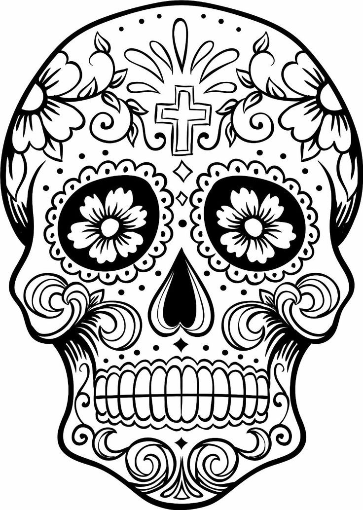 Simple Sugar Skull Coloring Pages - Coloring Home