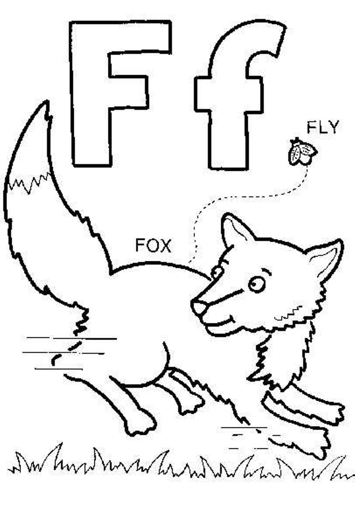 F Is For Fox Coloring Page Coloring