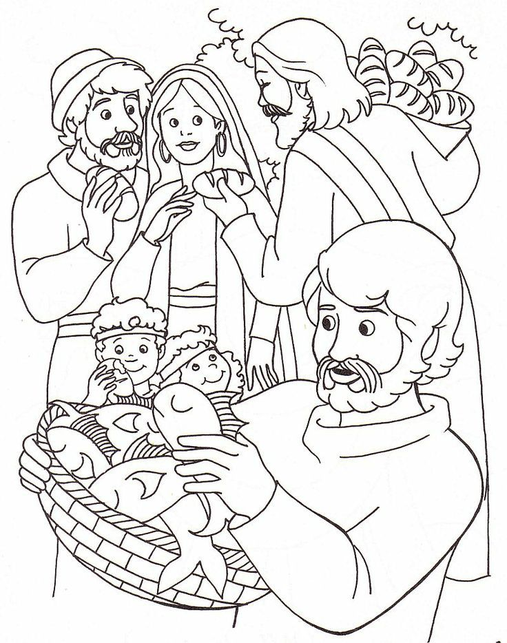 Jesus Feeds The Five Thousand Coloring Page
