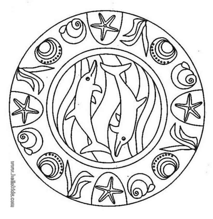 Dolphins Coloring Pages Dolphin Mandala Color Page Print