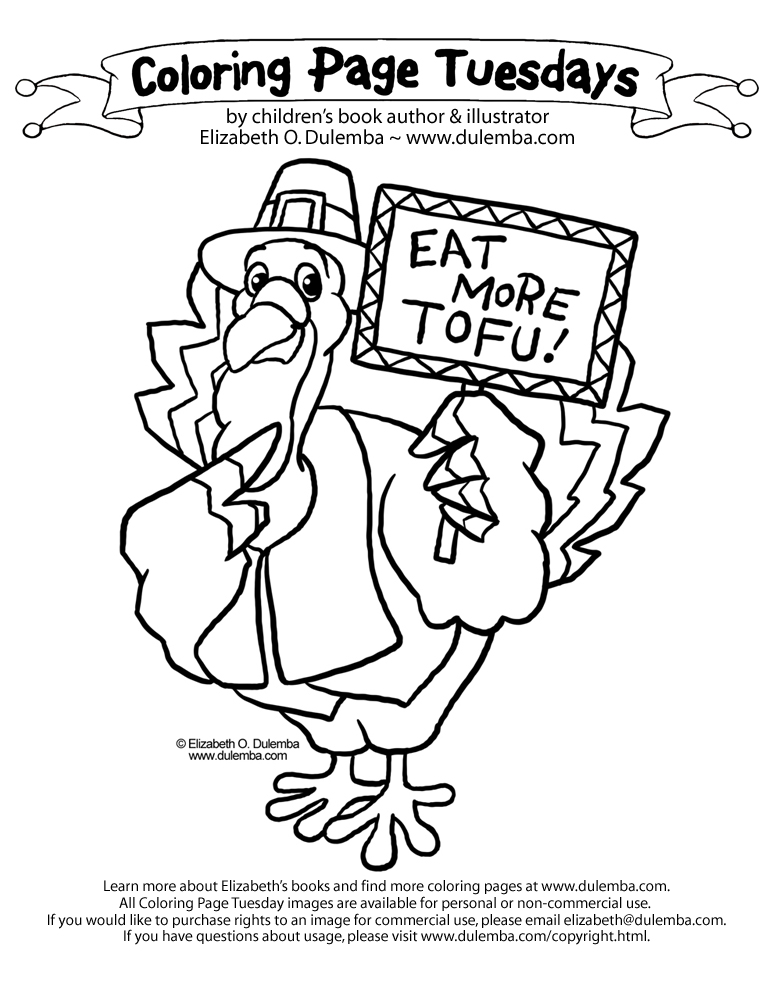 dulemba: Coloring Page Tuesday! - Tofu Turkey