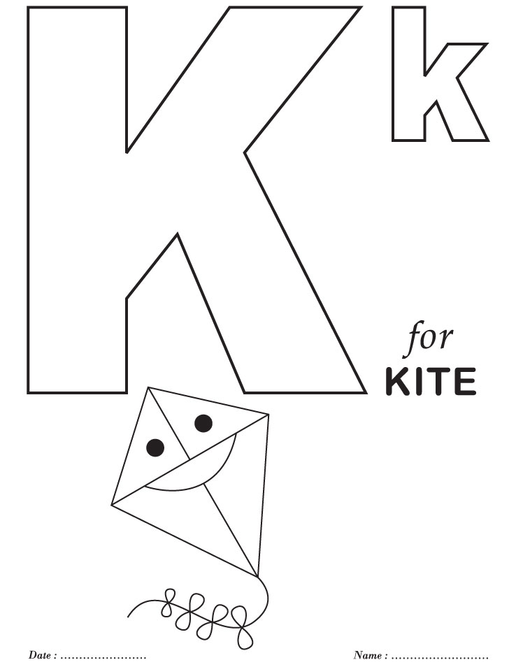 Free printable alphabet coloring pages az coloring pages for The letter k coloring pages
