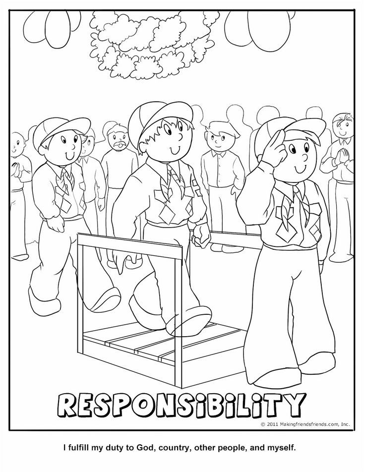 Cub Scout Responsibility Coloring Page Cub Scouts Tiger