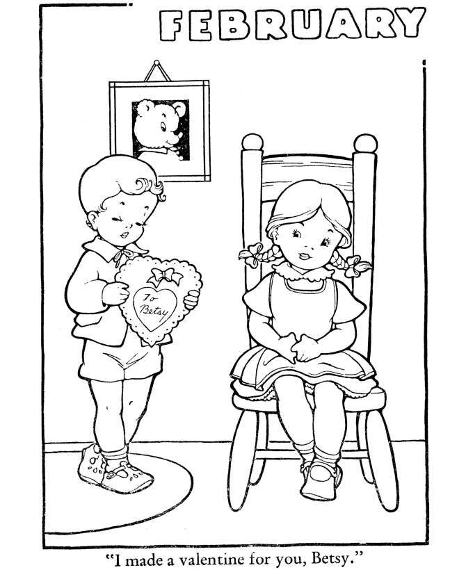 Happy Valentine Day Girl And Boy Coloring Pages