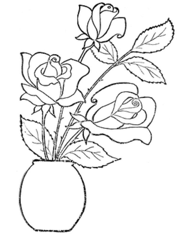 Coloring Pages Of Flowers And Roses - Coloring Home