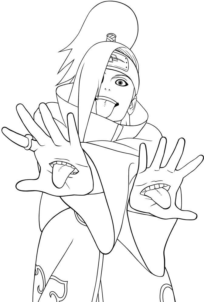 Akatsuki Members Deidara Coloring Pages Naruto Coloring Pages Coloring Home