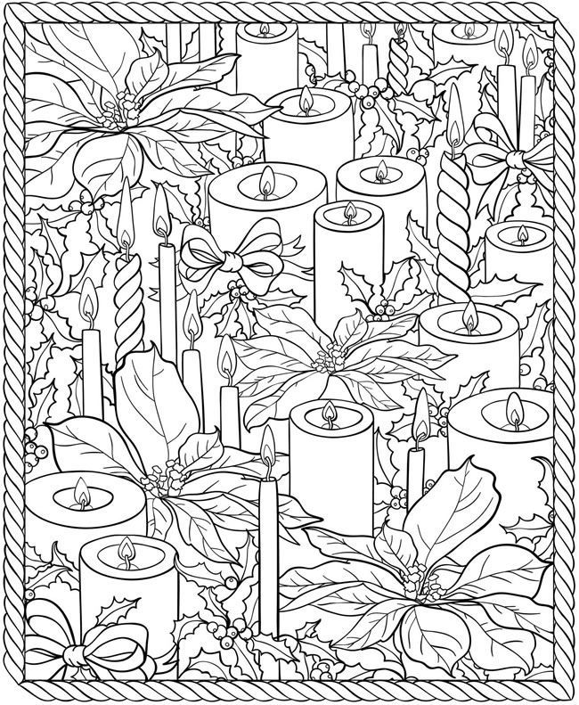 free christmas colouring pages adults