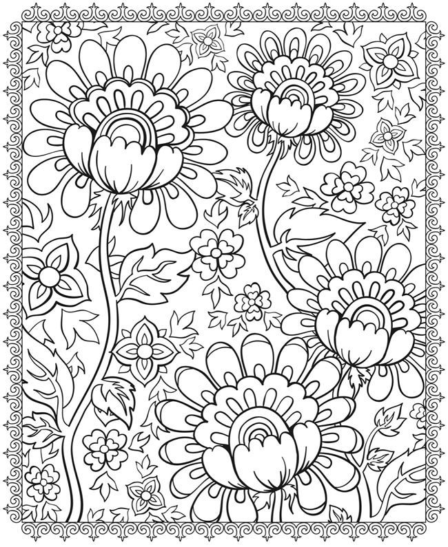 cool flower pattern coloring pages - photo#10