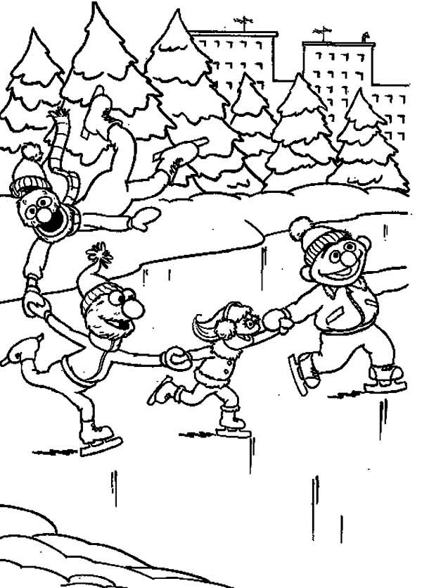Kids Ice Skating Coloring Pages