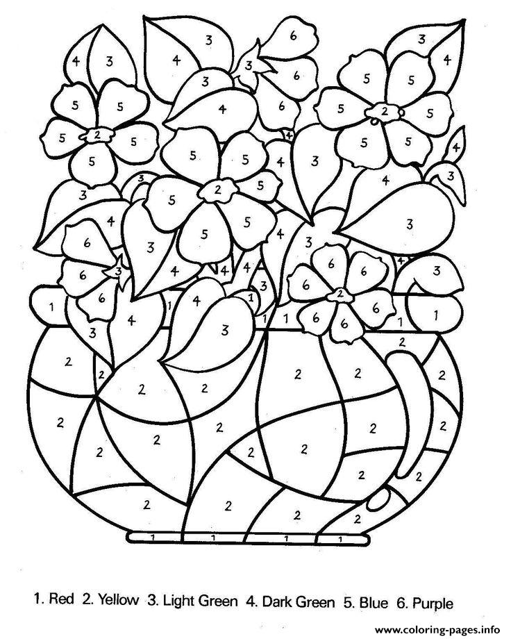 Color By Number Flowers Adults Coloring Pages Printable