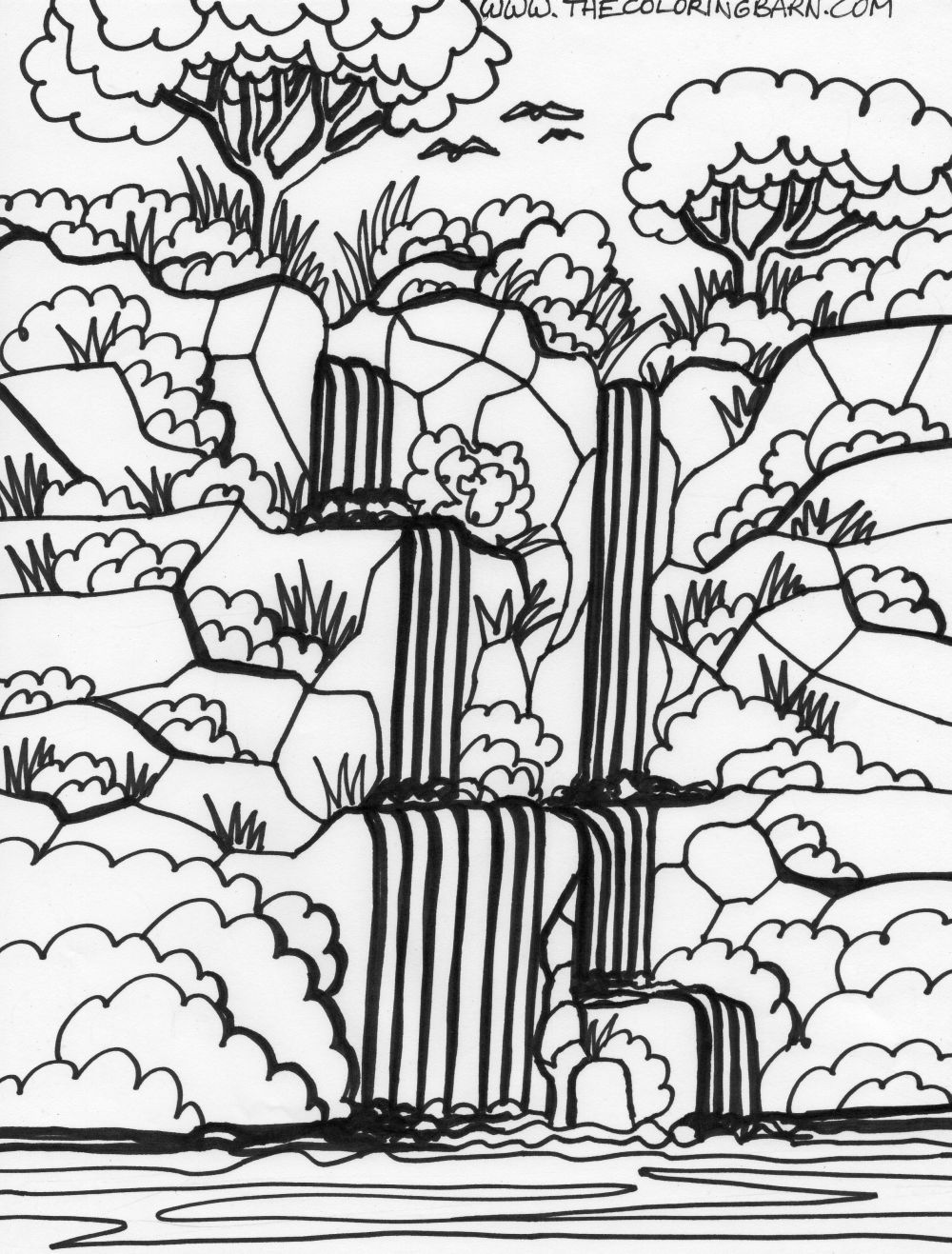 Rain forest trees coloring page coloring home for Jungle coloring pages free