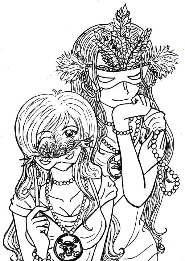 One Piece Anime Girls On Mardi Gras Costume Coloring Page Coloring ...