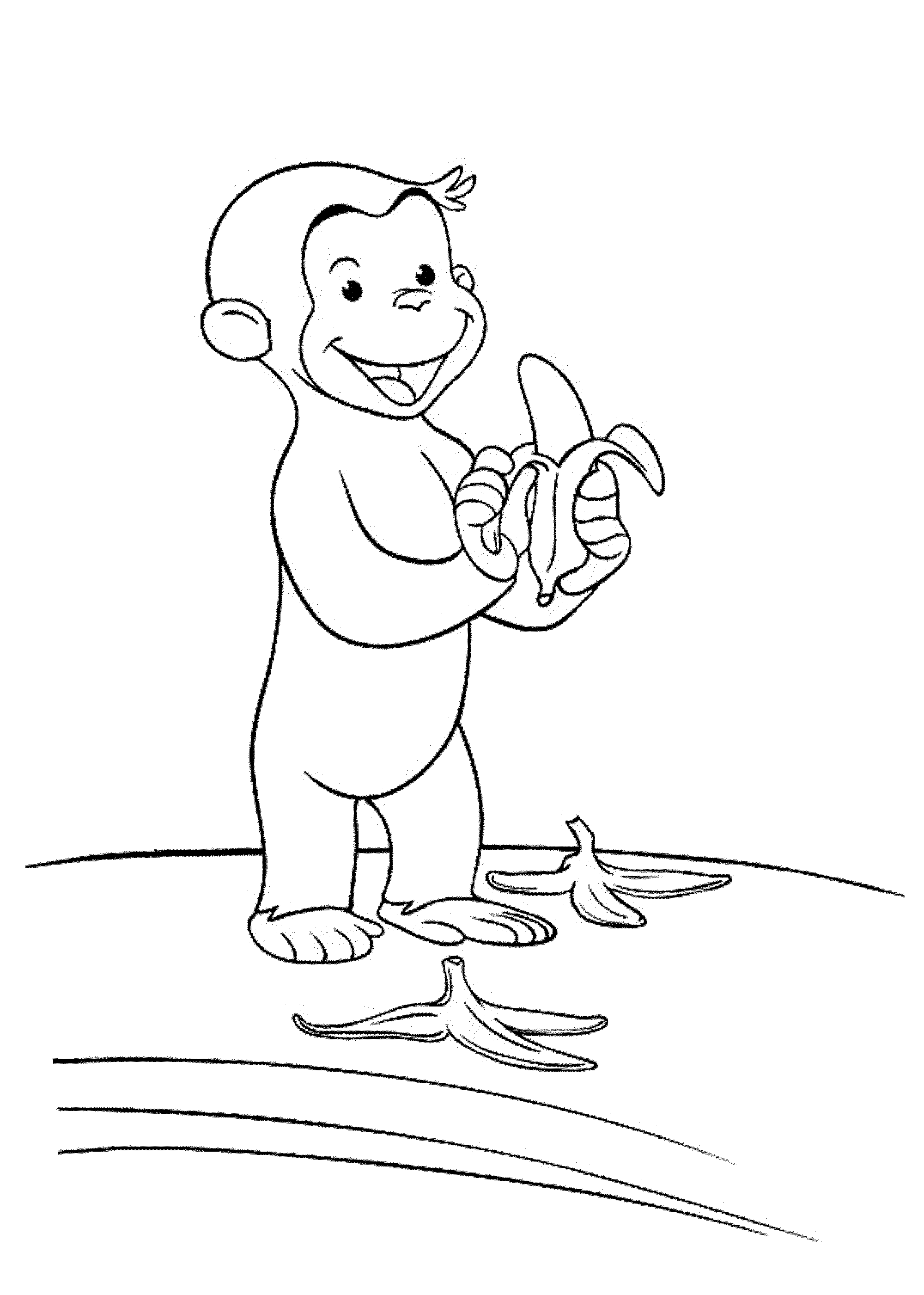 Coloring pages curious george printable - Curious George Eat Banana Coloring Pages Printable Free
