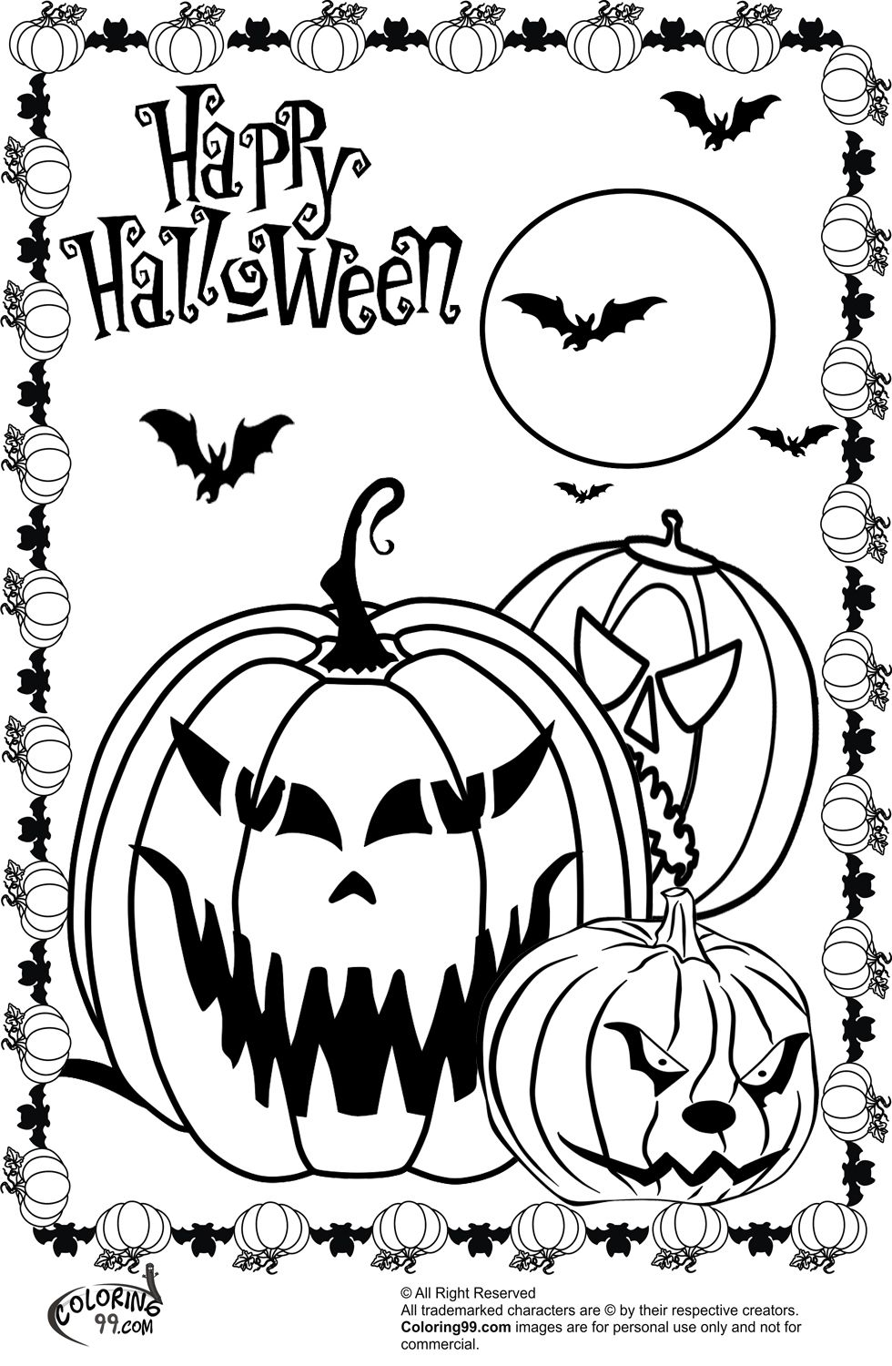 printable scary halloween coloring pages - photo#1