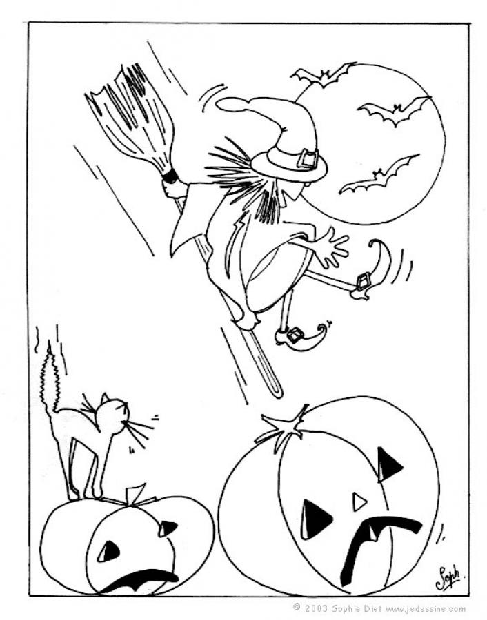 witches on broomsticks coloring pages - photo#19