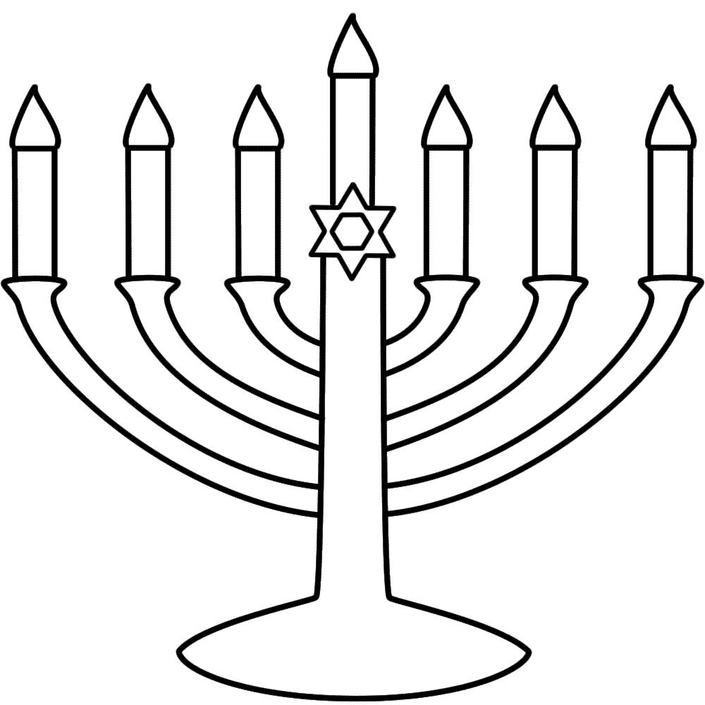 Menorah with seven candles - Coloring Page (Hanukkah)