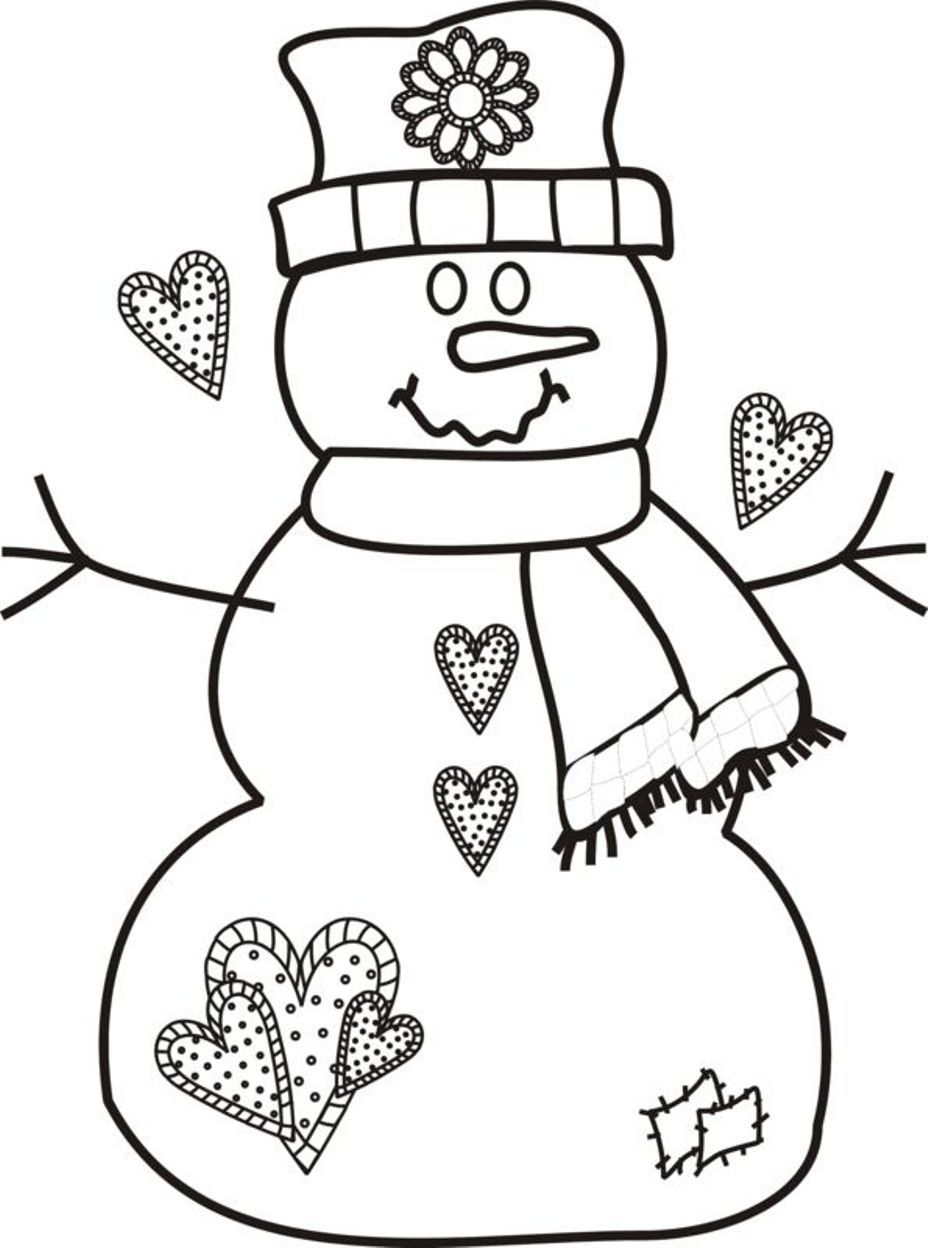 Printable Coloring Pages Christmas Snowman