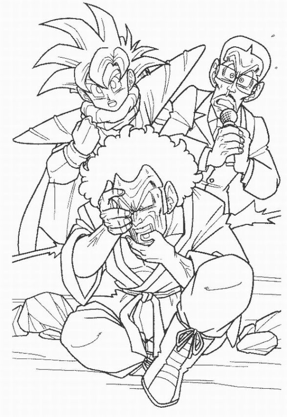 Dragon Ball Z coloring page featuring Gohan and Hercule Satan! xD ...