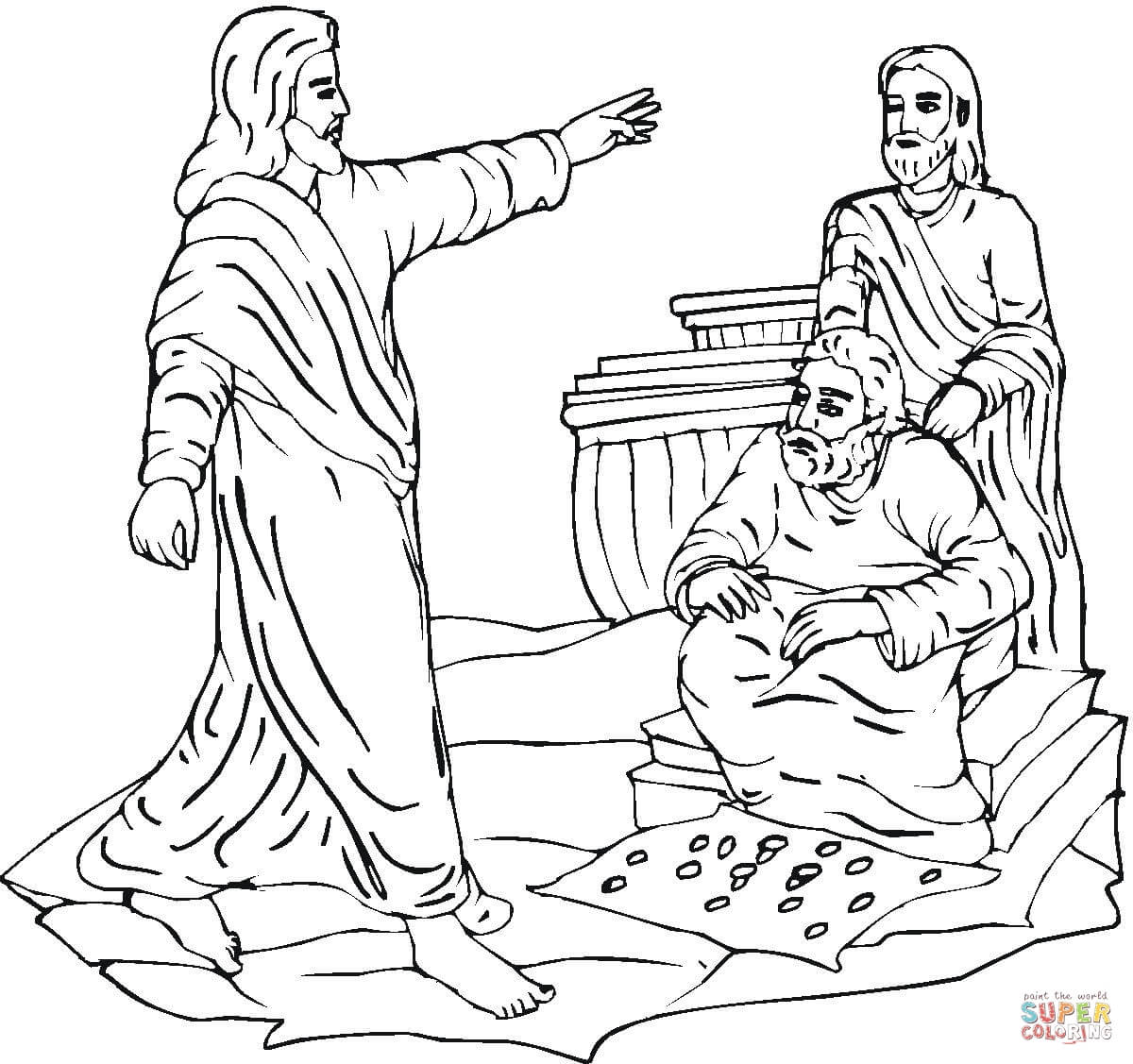 Jesus Clears The Temple Coloring Page