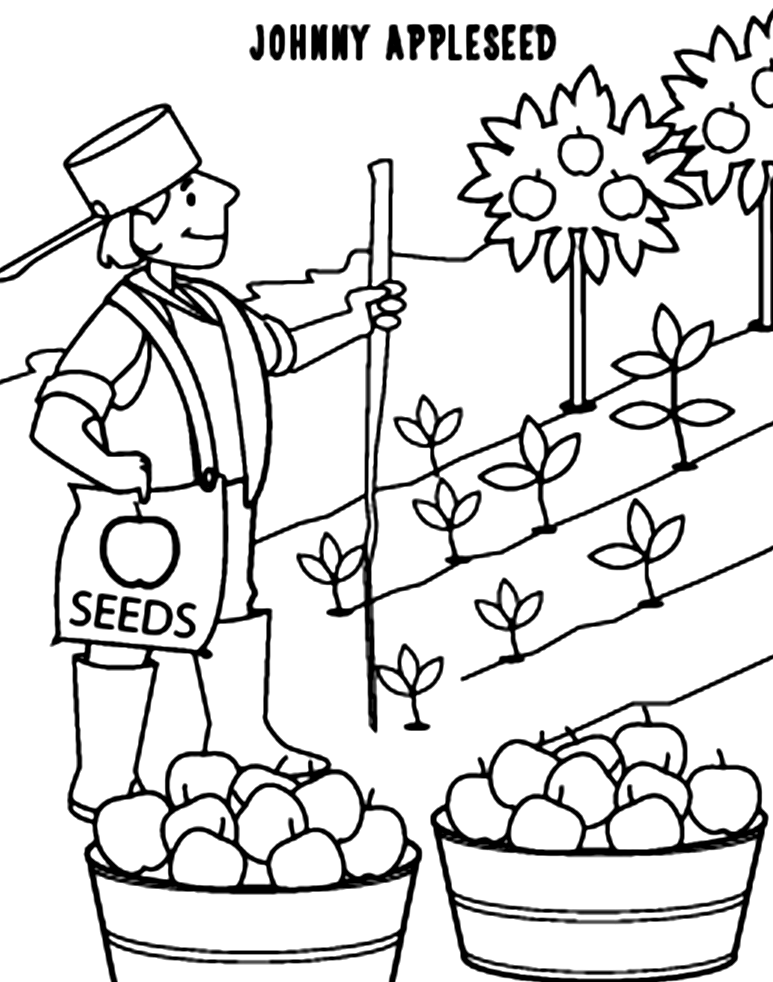 Johnny Appleseed Coloring Pages - Coloring Home