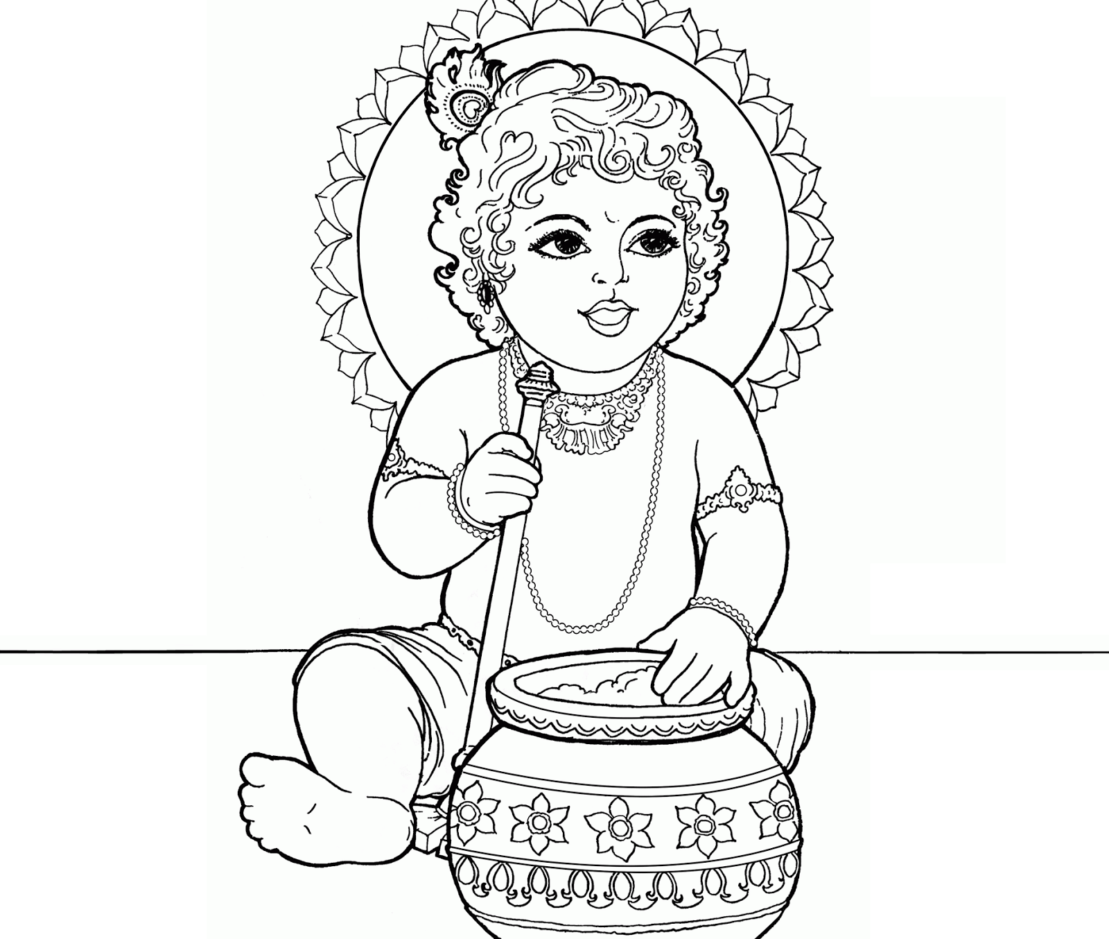 krishna pages for coloring - photo#11