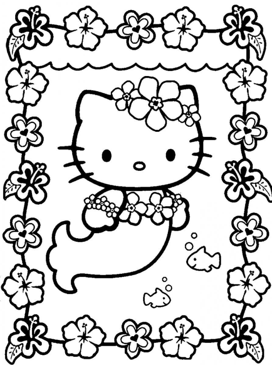 Mermaids Swimming Hello Kitty Mermaid Coloring Pages