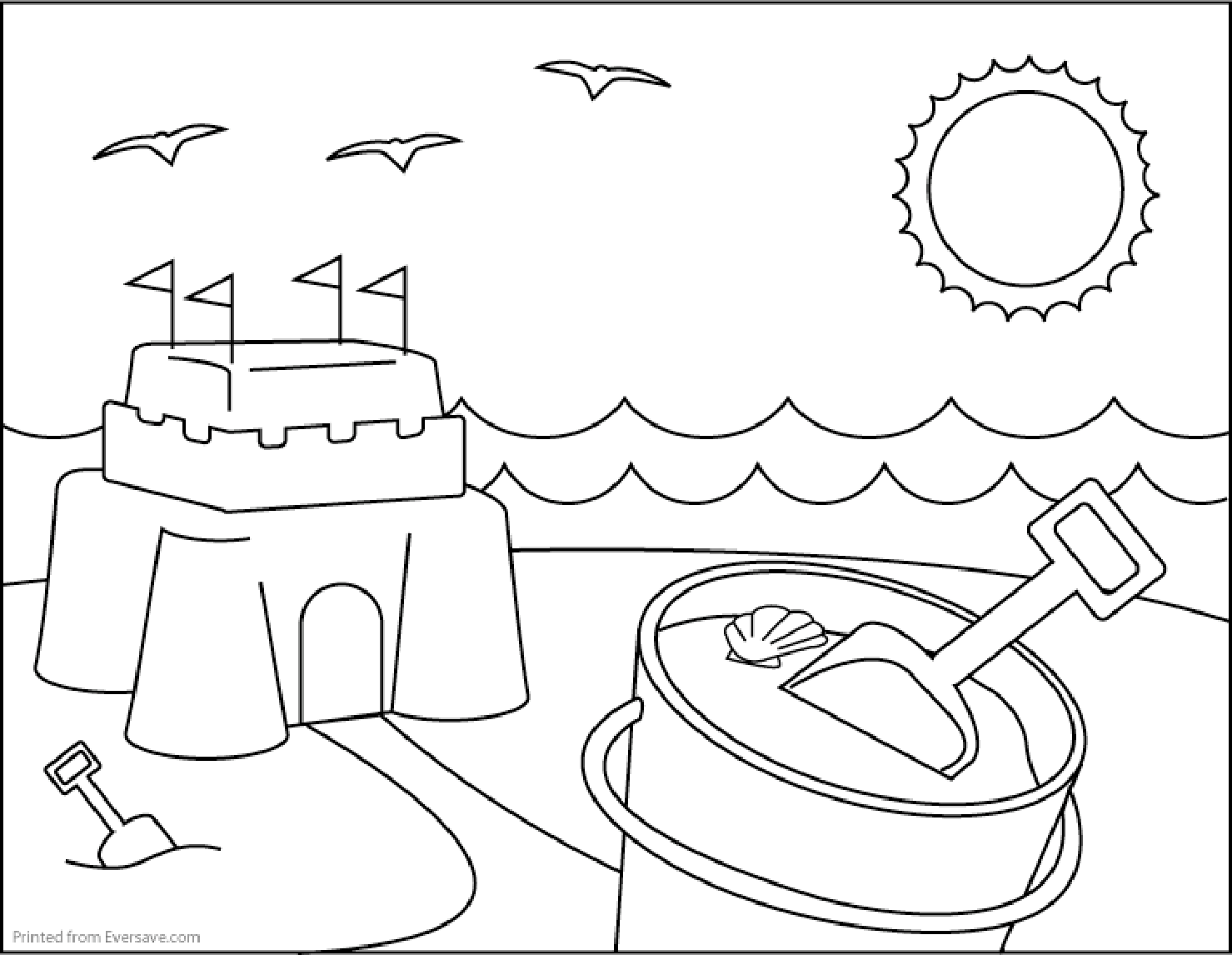 printable beach coloring pages. beach coloring page 2. beach ...