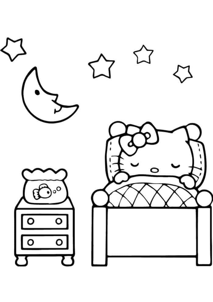 Hello Kitty Sleeping Coloring Pages | Hello kitty colouring pages, Hello  kitty coloring, Kitty coloring