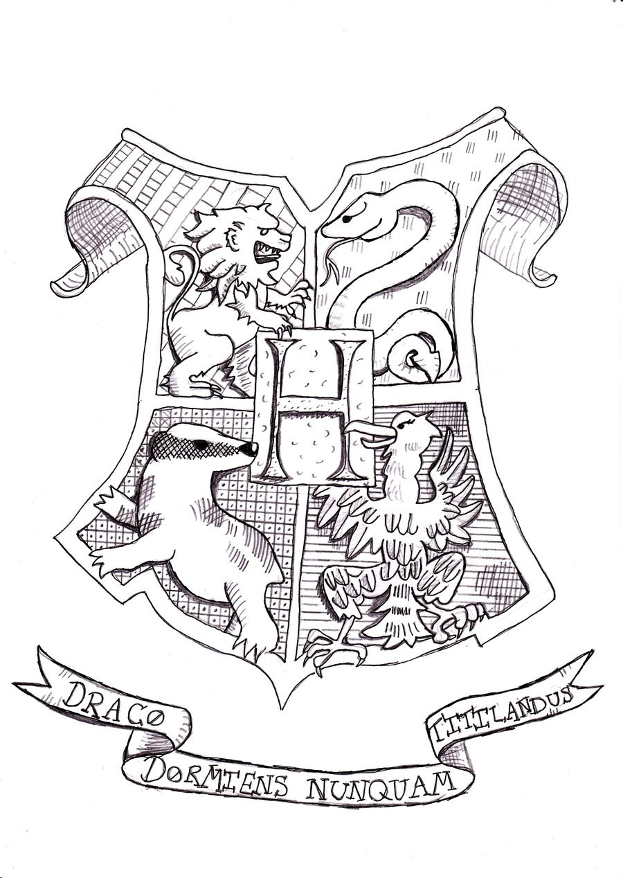 Hogwarts Crest Coloring Page Free
