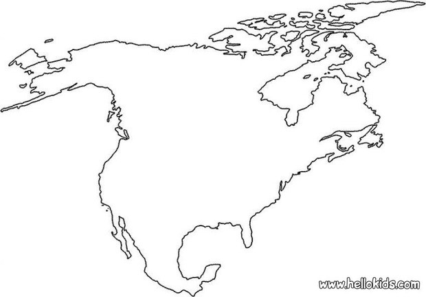 Maps Coloring Pages North America Home: North America Map For Coloring At Usa Maps