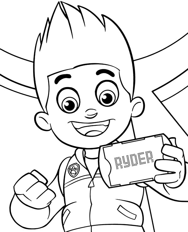 Ryder's portrait to color free printable coloring sheet