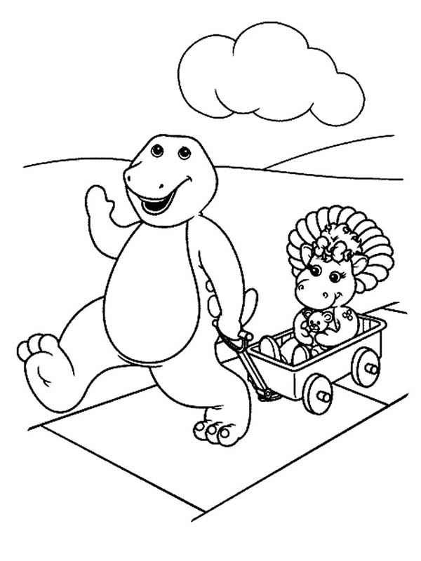 Barney And Baby Bop Playing Cart In Barney And Friends Coloring ...