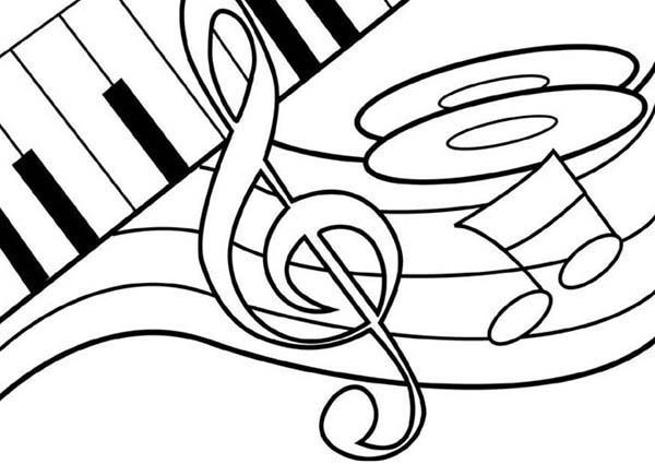 Music Notes on Piano Coloring Page: Music Notes on Piano ...