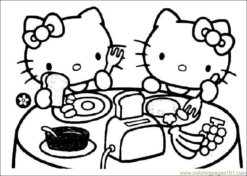 Hello Kitty Eating Coloring Page